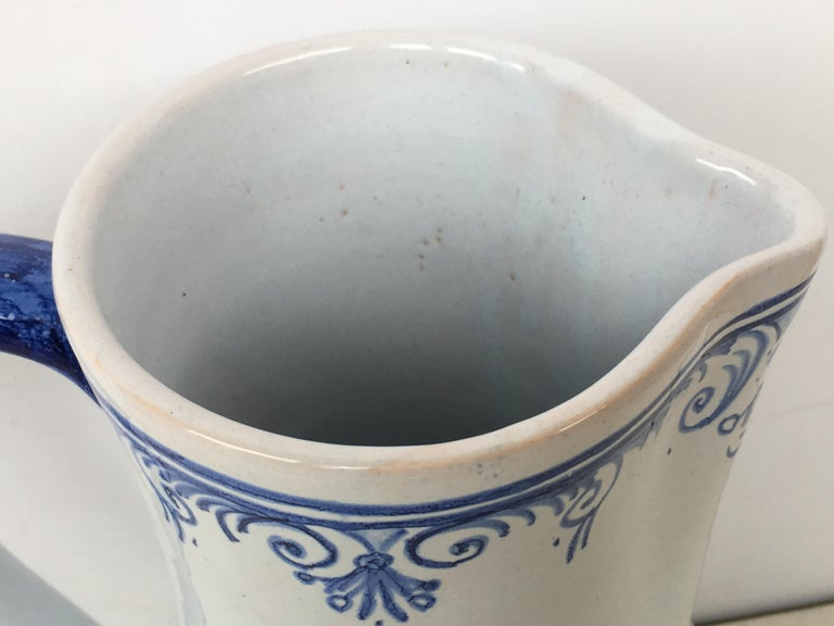 Ceramic 20th Century Glazed Earthenware Blue and White Painted Pitcher, Signed Talavera For Sale