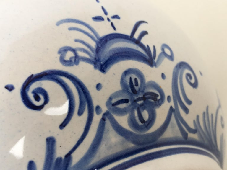 20th Century Glazed Earthenware Blue and White Painted Pitcher, Signed Talavera For Sale 2