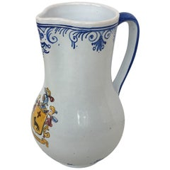 20th Century Glazed Earthenware Blue and White Painted Pitcher, Signed Talavera