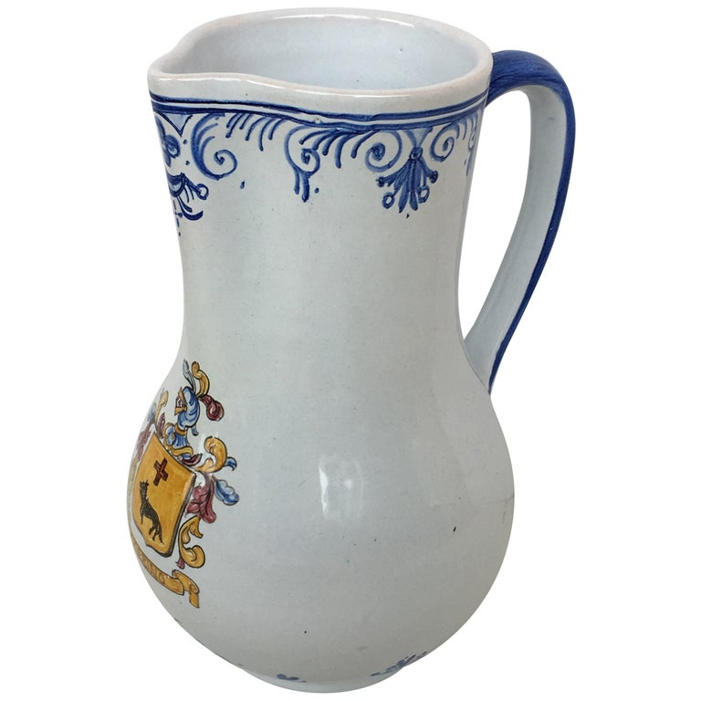 20th Century Glazed Earthenware Blue and White Painted Pitcher, Signed Talavera For Sale