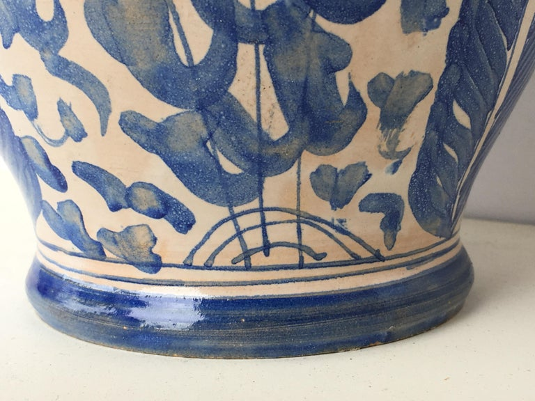20th Century Glazed Earthenware Spanish Blue and White Painted Pitcher For Sale 5