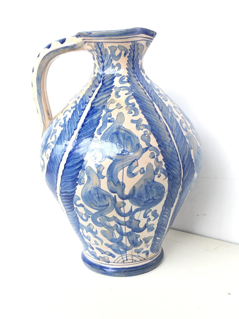 Spanish Colonial 20th Century Glazed Earthenware Spanish Blue and White Painted Pitcher For Sale