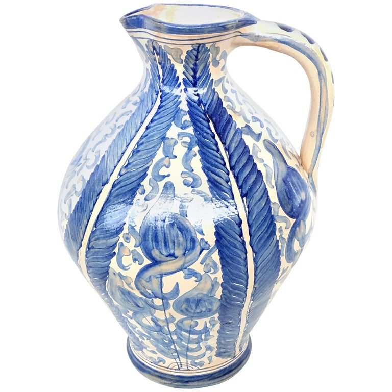 20th Century Glazed Earthenware Spanish Blue and White Painted Pitcher For Sale