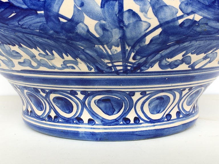 20th Century Glazed Earthenware Spanish Blue and White Painted Urn, Vase For Sale 4