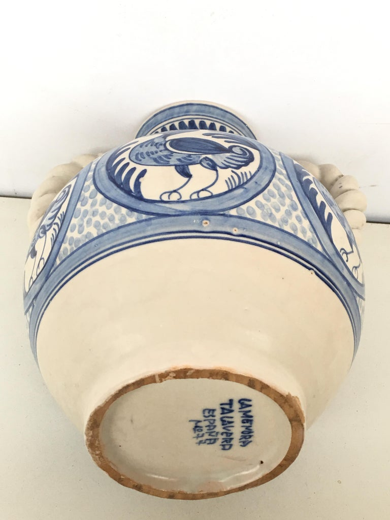 Spanish Colonial 20th Century Glazed Earthenware Spanish Blue and White Painted Urn, Vase For Sale