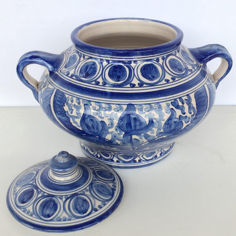 20th Century Glazed Earthenware Spanish Blue and White Painted Urn, Vase In Good Condition For Sale In Miami, FL