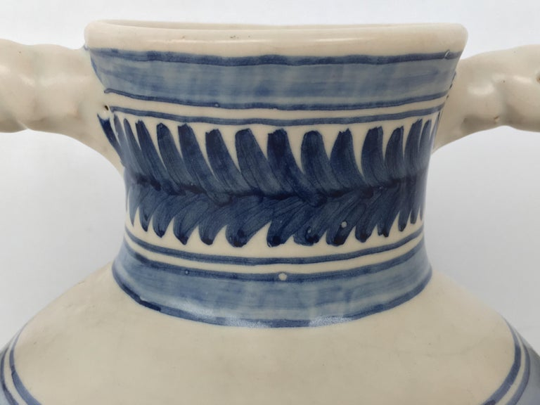 19th Century 20th Century Glazed Earthenware Spanish Blue and White Painted Urn, Vase For Sale