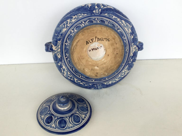 Ceramic 20th Century Glazed Earthenware Spanish Blue and White Painted Urn, Vase For Sale