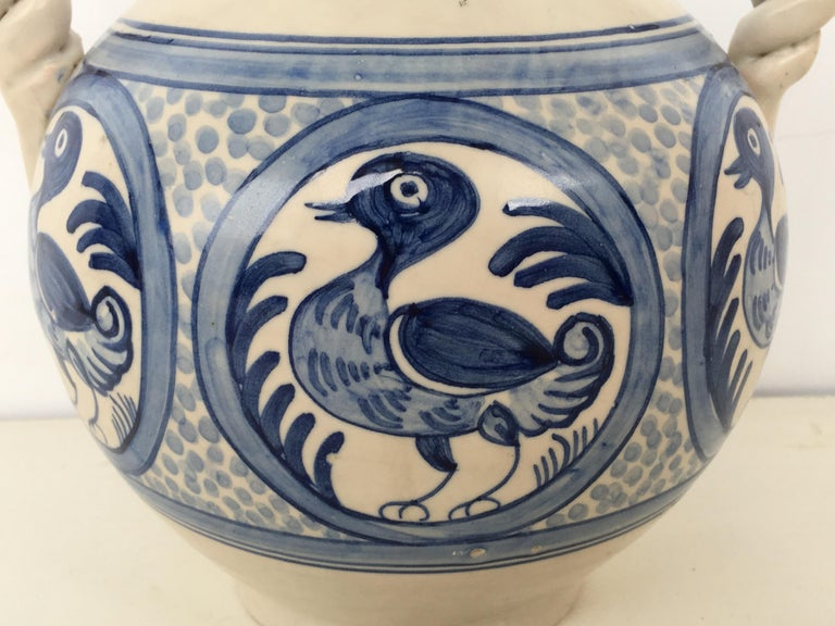 20th Century Glazed Earthenware Spanish Blue and White Painted Urn, Vase For Sale 1