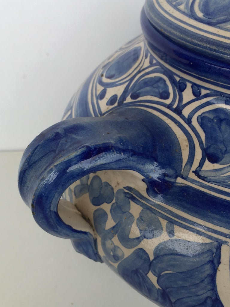 20th Century Glazed Earthenware Spanish Blue and White Painted Urn, Vase For Sale 3