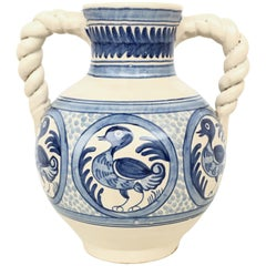 20th Century Glazed Earthenware Spanish Blue and White Painted Urn, Vase