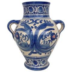 20th Century Glazed Earthenware Spanish Blue and White Painted Urn, Vase