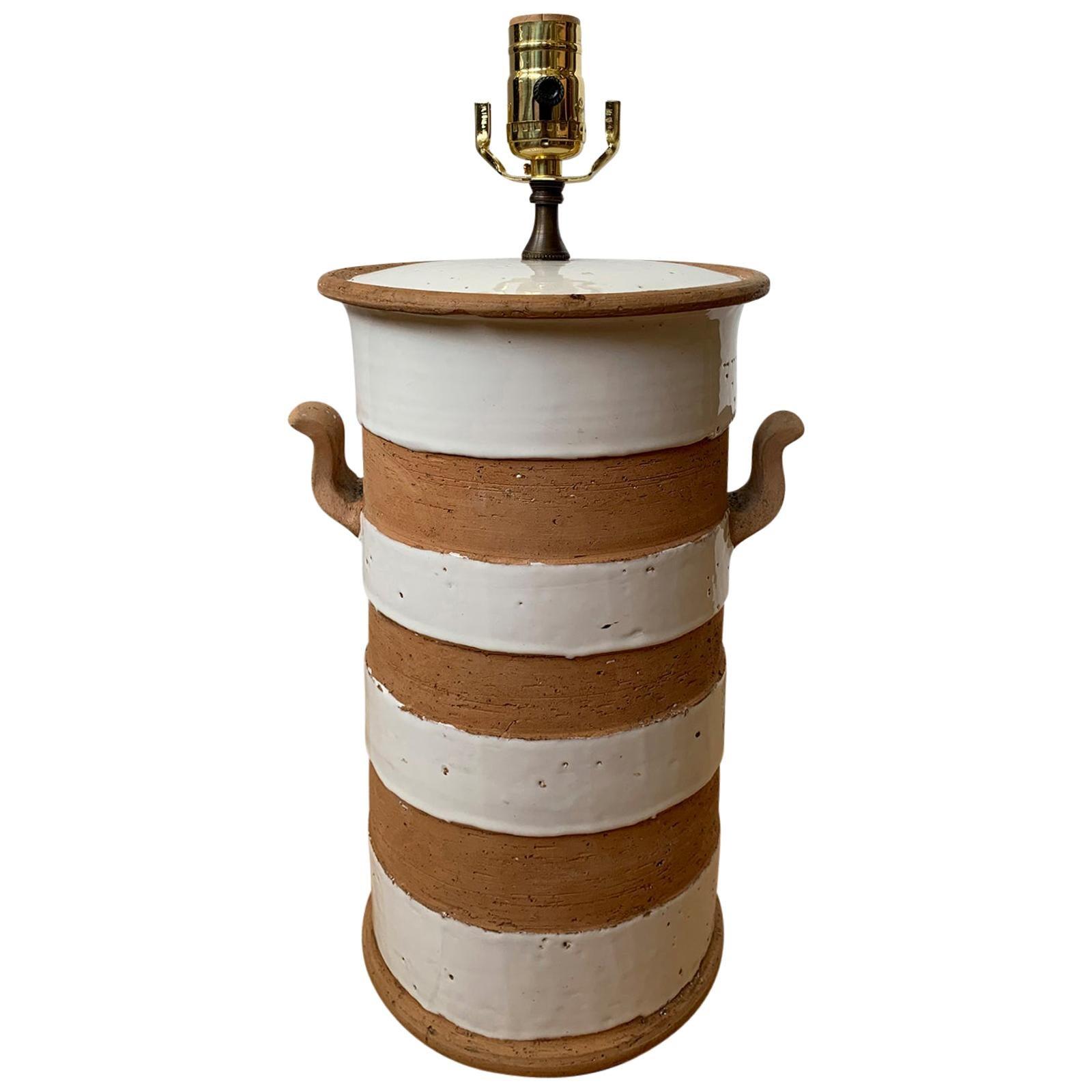 20th Century Glazed Terracotta Lamp