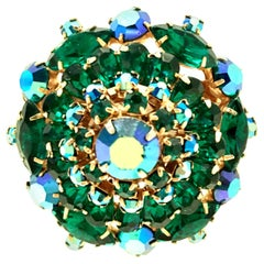 20th Century Gold & Austrian Crystal Abstract Dimensional Dome Brooch