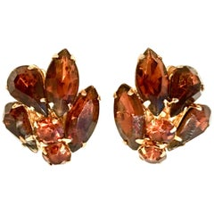 20th Century Gold & Austrian Crystal Abstract Floral Earrings