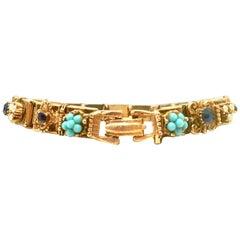 20th Century Gold , Austrian Crystal Bead Link Bracelet