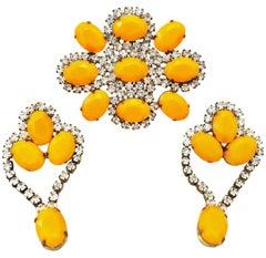 20th Century Gold & Austrian Crystal Bohemian Brooch & Pair Of Earrings
