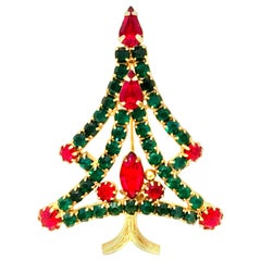 20th Century Gold & Austrian Crystal Christmas Tree Brooch