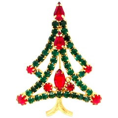 20th Century Gold & Austrian Crystal Christmas Tree Brooch