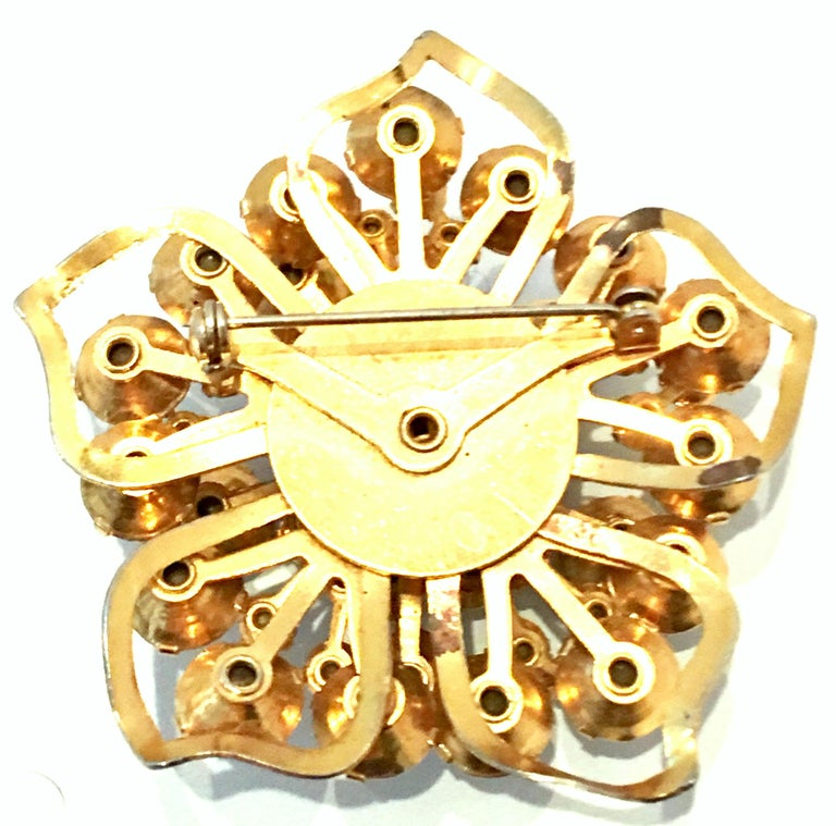 20th Century Gold & Austrian Crystal Dimensional Abstract Floral Brooch For Sale 6