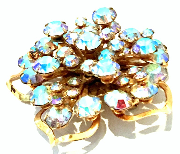 20th Century Gold & Austrian Crystal Dimensional Abstract Floral Brooch For Sale 1