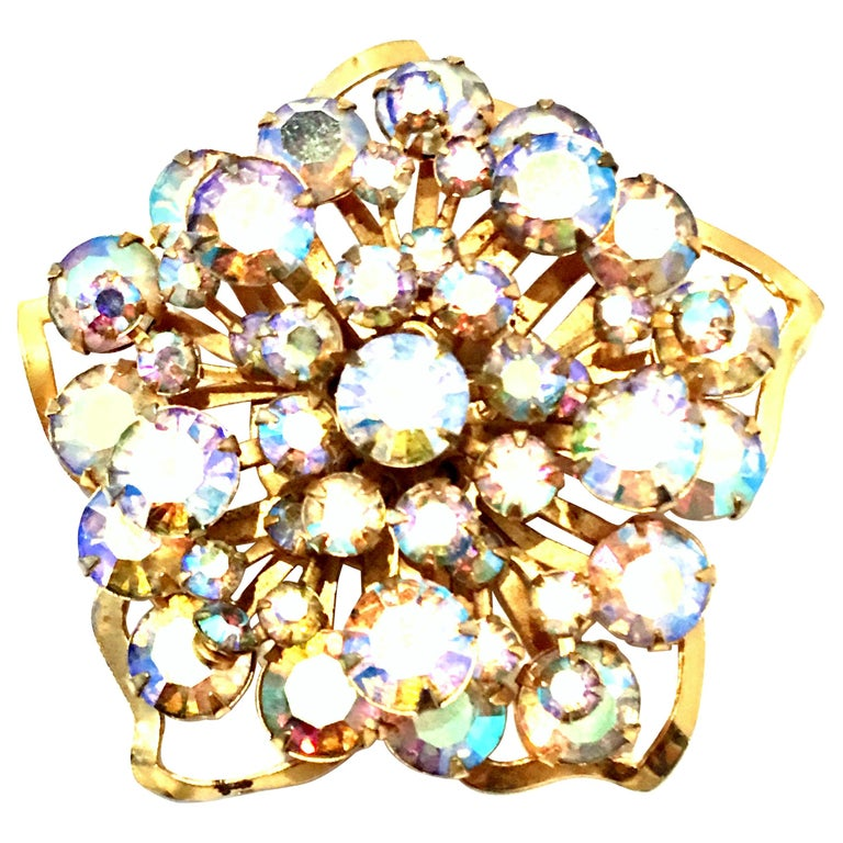 20th Century Gold & Austrian Crystal Dimensional Abstract Floral Brooch For Sale