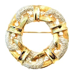 20th Century Gold & Austrian Crystal Dimensional Brooch