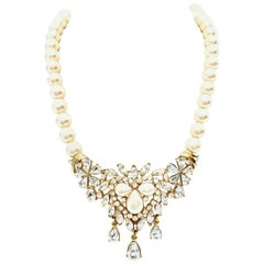 20th Century Gold Austrian Crystal & Pearl Necklace By Matsumoto For Trifari