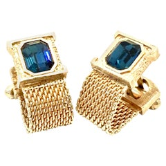 20th Century Gold & Austrian Crystal Sapphire Blue Pair Of Cufflinks By Swank