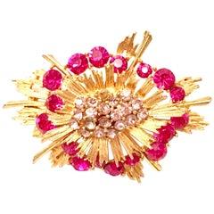 20th Century Gold & Austrian Crystal Starburst Brooch By, Lisner