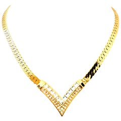"20th Century Gold & Austrian Crystal ""V"" Necklace by, Christian Dior"