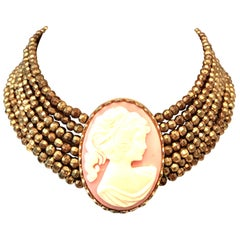 20th Century Gold Bead & Carved Lucite Cameo Choker Style Necklace