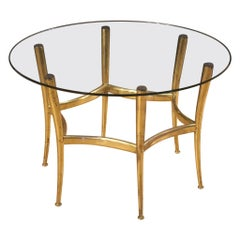 20th Century Gold Brass with Glass Top Italian Design Coffee Table, 1950