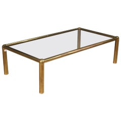 20th Century Gold Brass with Glass Top Italian Design Coffee Table, 1970