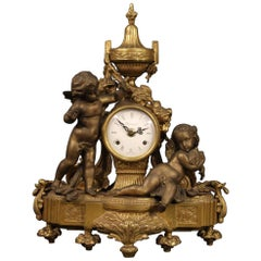 20th Century Gold Bronze and Antimony French Table Clock, 1950