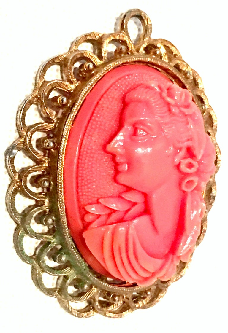 Women's or Men's 20th Century Gold & Carved Lucite Pink Coral Cameo Necklace Pendant For Sale