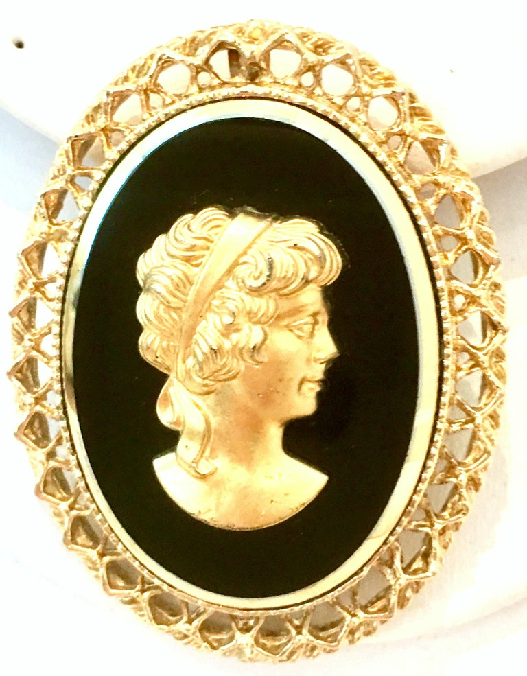Victorian 20th Century Gold Cut Glass Cameo Brooch & Necklace Pendant For Sale