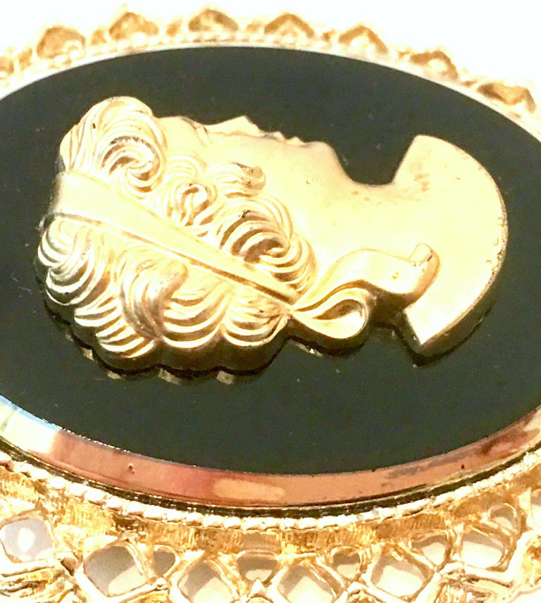 Women's or Men's 20th Century Gold Cut Glass Cameo Brooch & Necklace Pendant For Sale