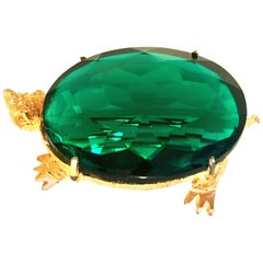 20th Century Gold & Emerald Glass Turtle Brooch