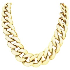20th Century Gold & Enamel Chain Link Choker Necklace By, Les Bernard