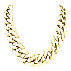 20th Century Gold & Enamel Chain Link Choker Necklace By, Les Bernard