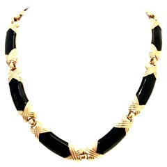 20th Century Gold & Enamel Choker Style Link Necklace By, Monet