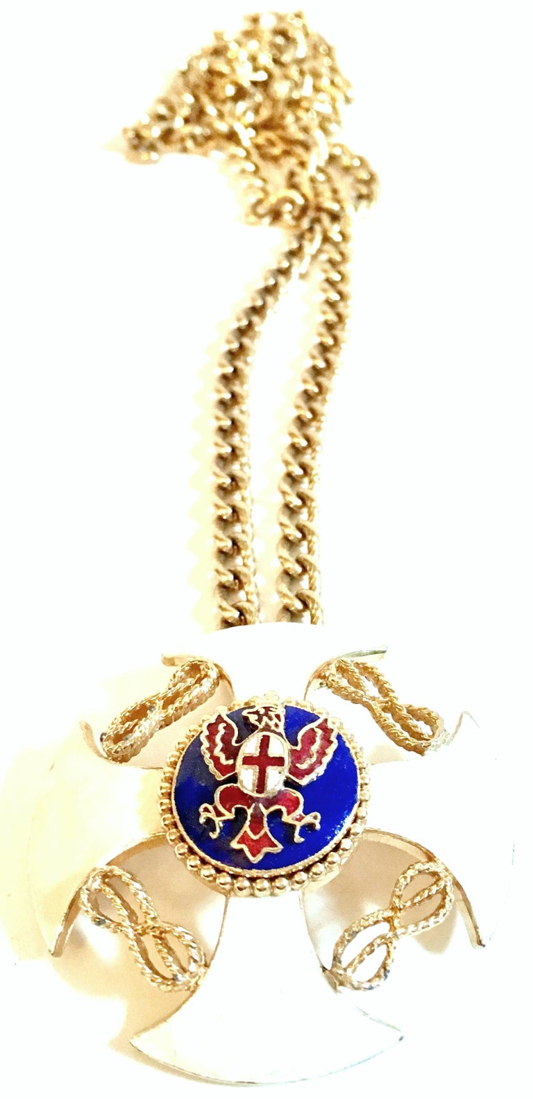 20th Century Gold & Enamel Crest Cross Brooch &Pendant Necklace By, Monet In Good Condition For Sale In West Palm Beach, FL