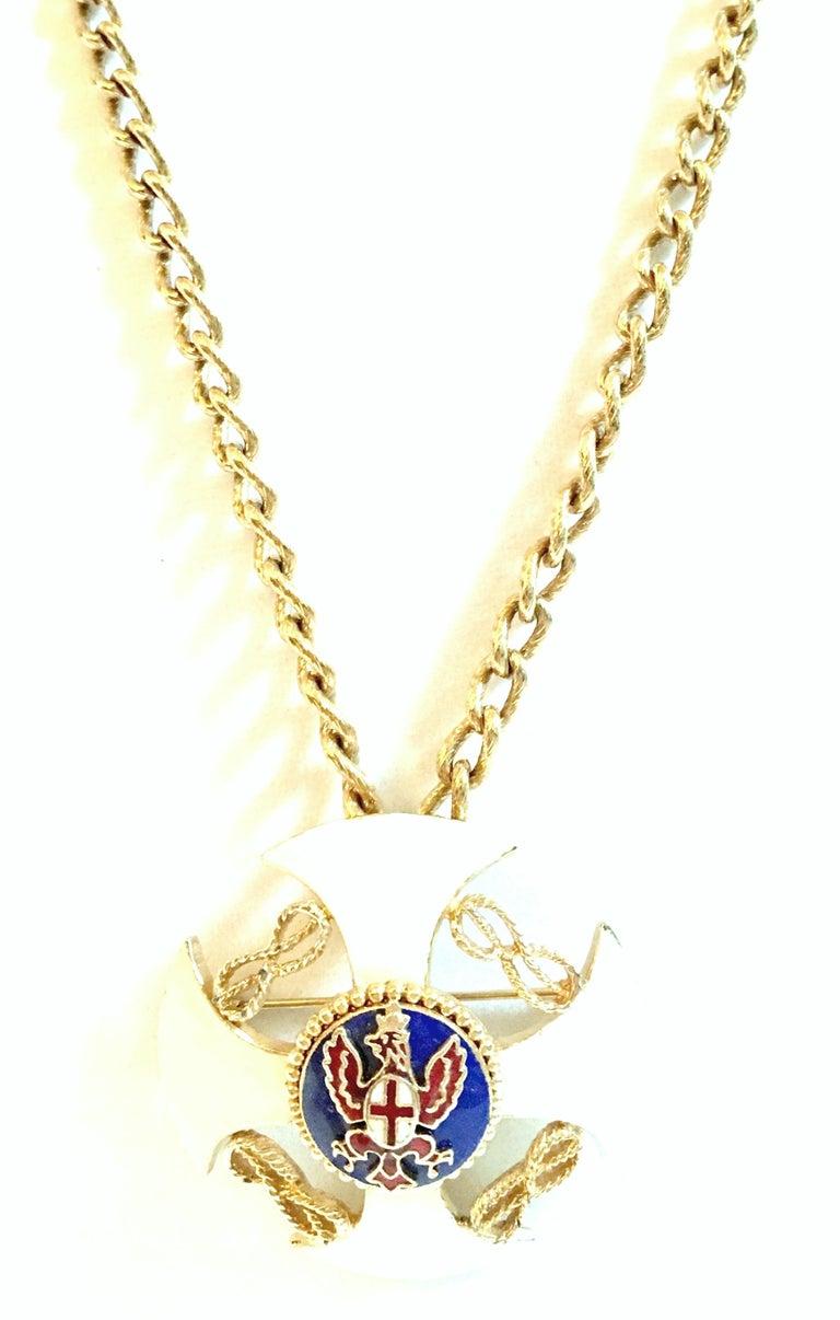 Women's or Men's 20th Century Gold & Enamel Crest Cross Brooch &Pendant Necklace By, Monet For Sale