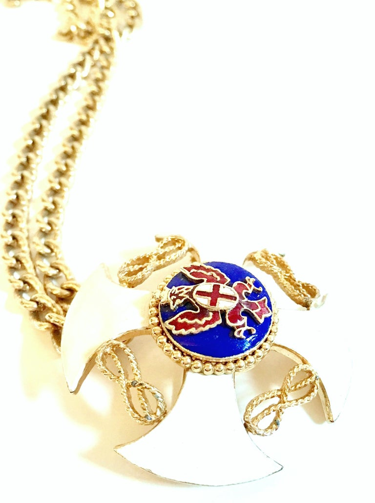20th Century Gold & Enamel Crest Cross Brooch &Pendant Necklace By, Monet For Sale 1