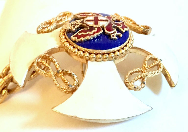20th Century Gold & Enamel Crest Cross Brooch &Pendant Necklace By, Monet For Sale 3