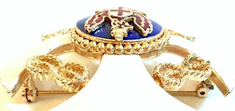 20th Century Gold & Enamel Crest Cross Brooch &Pendant Necklace By, Monet For Sale 4