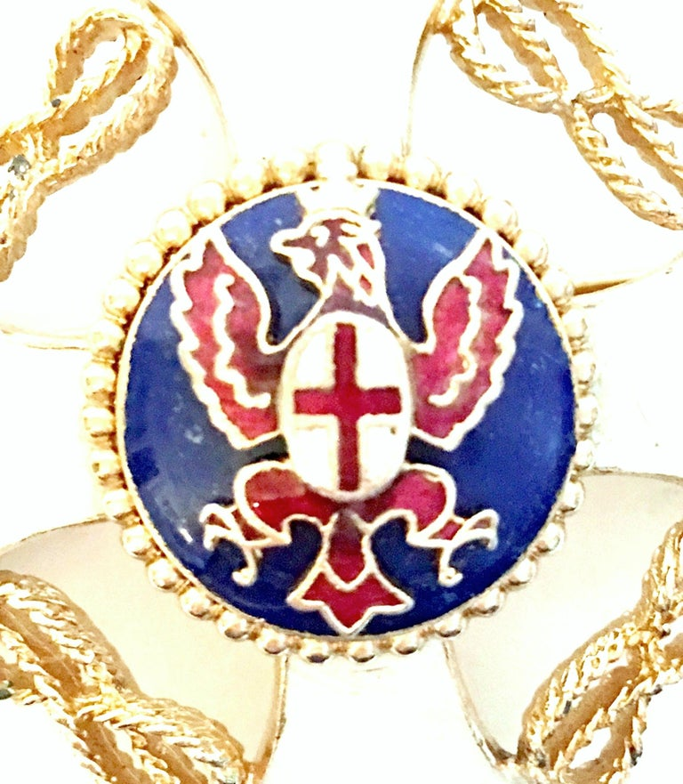 20th Century Gold & Enamel Crest Cross Brooch &Pendant Necklace By, Monet For Sale 5