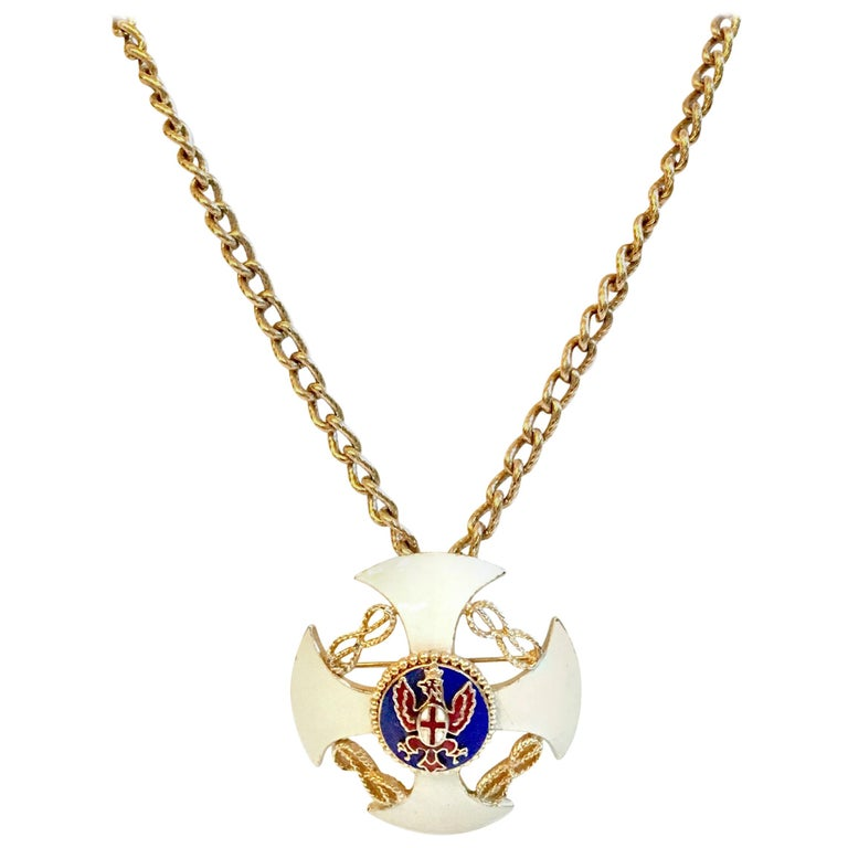20th Century Gold & Enamel Crest Cross Brooch &Pendant Necklace By, Monet For Sale