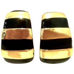 20th Century Gold & Enamel Earrings By, St. John